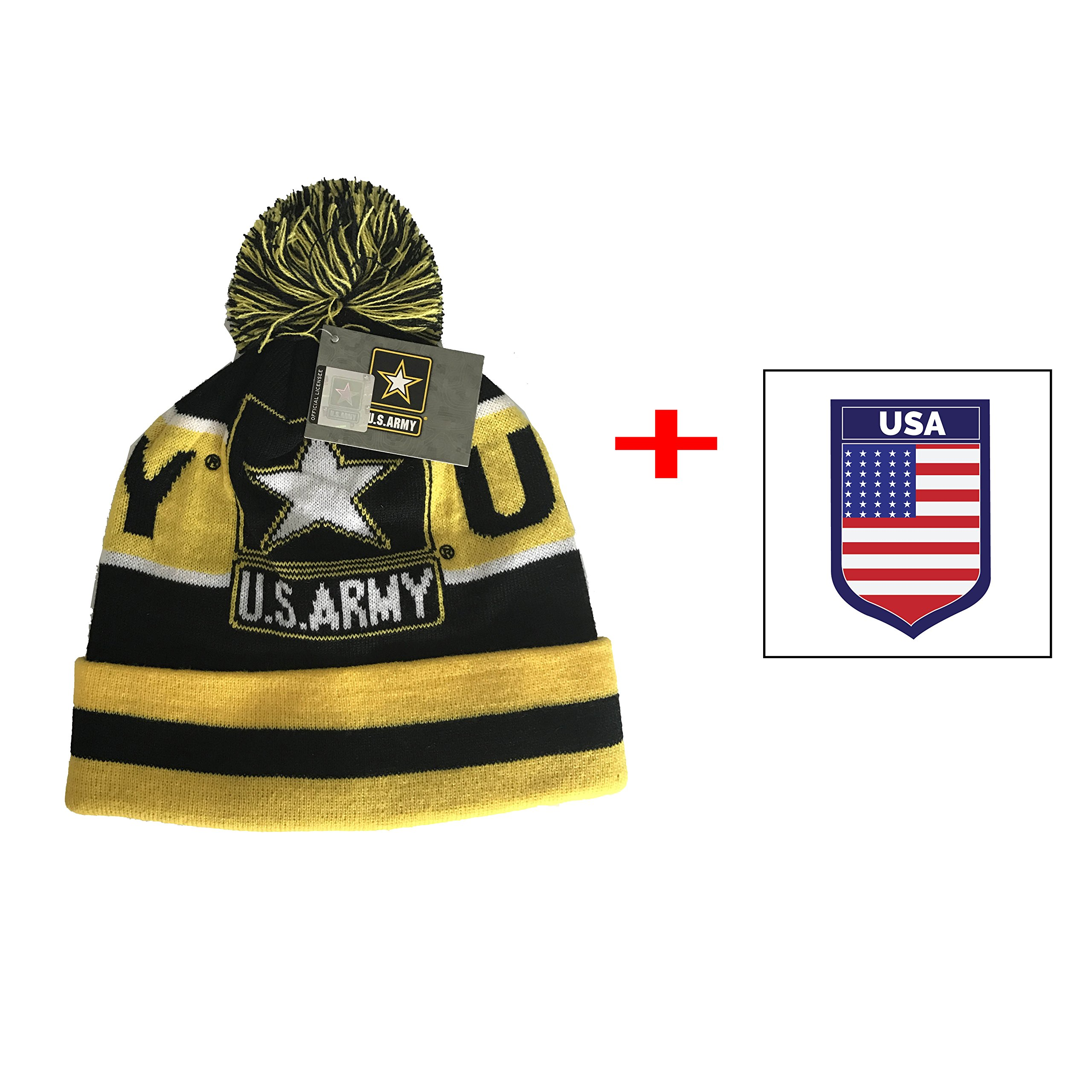 Army United States Logo Beanie Pom Cap Official Merchandise US Military (Yellow Pom)