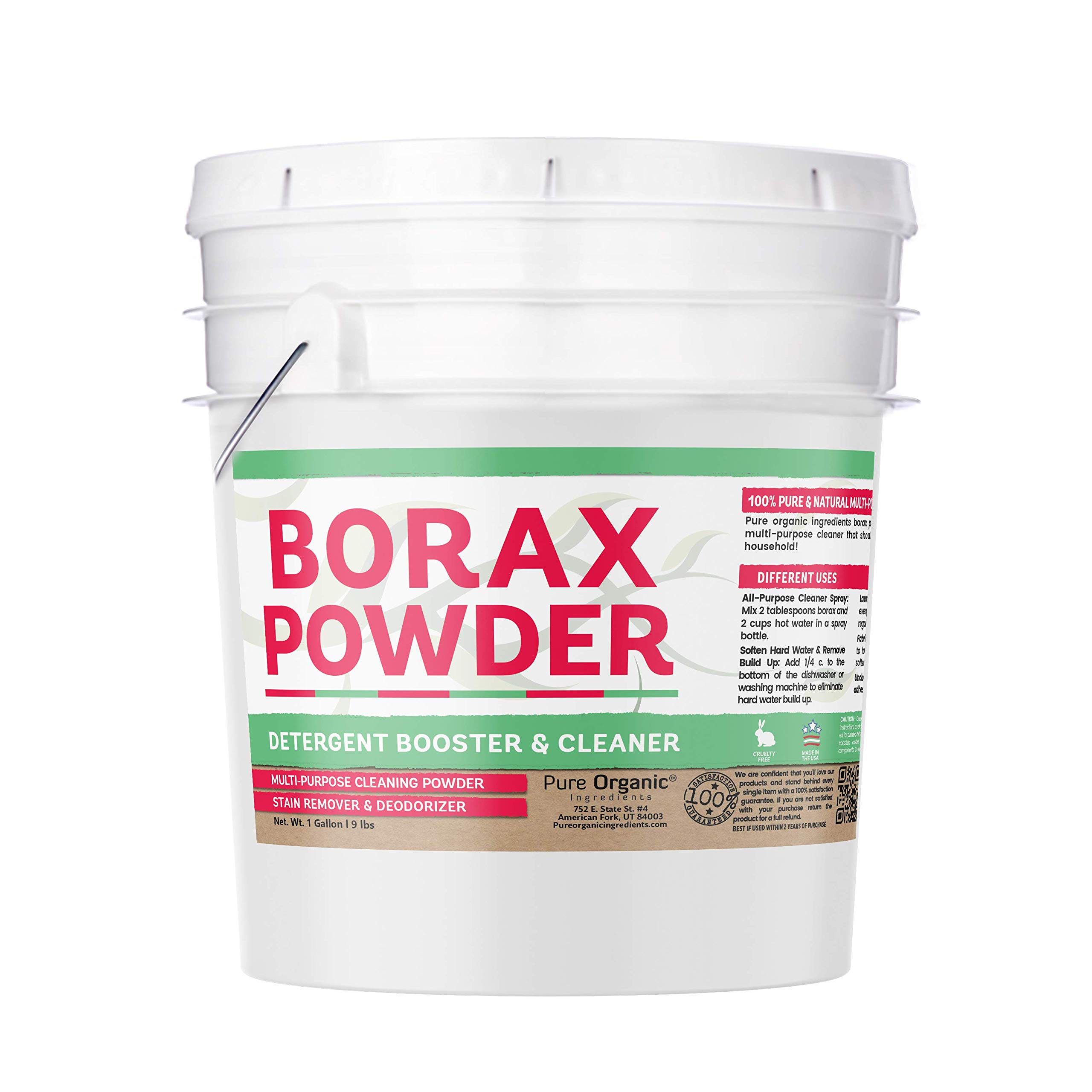 Borax Powder (1 Gallon, 9 lbs) by Pure Organic Ingredients, Resealable Bucket, Multi-Purpose Cleaning Powder, Deodorizer, Laundry Booster, Stain Remover, Slime Making