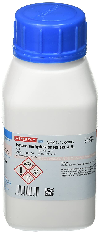 HiMedia GRM1015-500G Potassium Hydroxide Pellets, A.R, 500 g