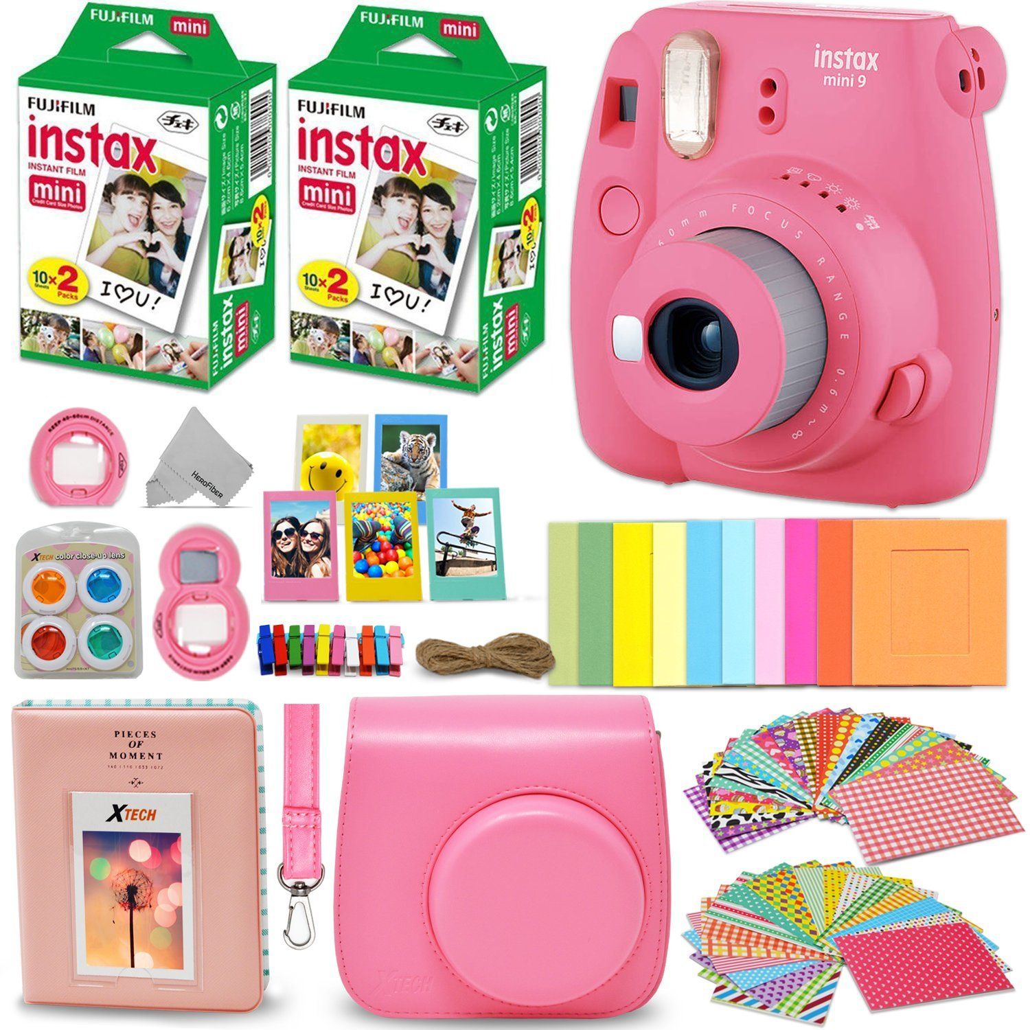 Fujifilm Instax Mini 9 Instant Camera FLAMINGO PINK + Fuji INSTAX Film (40 Sheets) + Accessories Kit Bundle + Custom Case with Strap + Assorted Frames + Photo Album + 60 Colorful Sticker Frames + MORE by HeroFiber