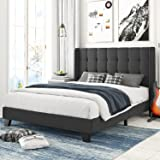 Amolife Queen Size Bed Frame Upholstered Wingback Platform Bed with Square Stitched Headboard / Mattress Foundation / Wood Sl