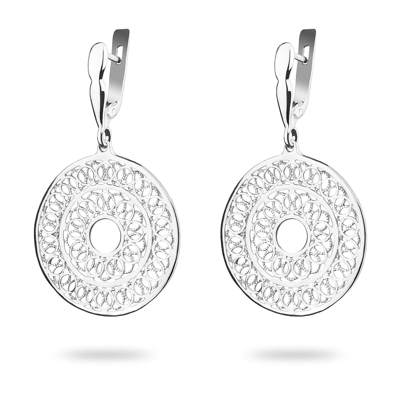 Mandala Earrings Sterling Silver Chakra Round Filigree