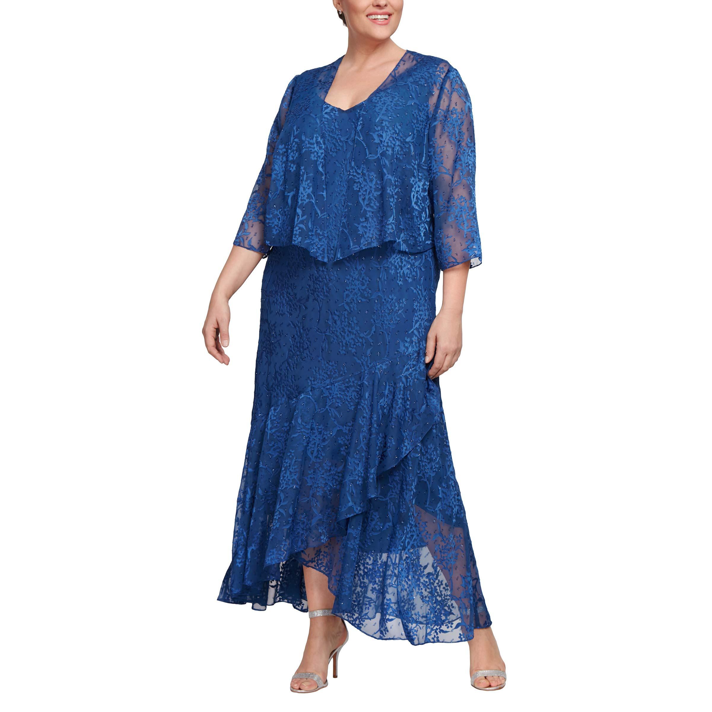Choose SZ//color Details about  /Alex Evenings Women/'s Tea Length Printed Chiffon D