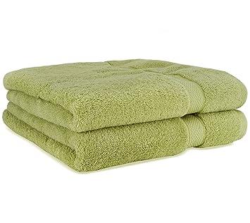 Toallas de baño de lujo de Cosy Homery - Juego de toallas 2 piezas verdes - 100% algodón egipcio natural orgánico 650 GSM: Amazon.es: Hogar