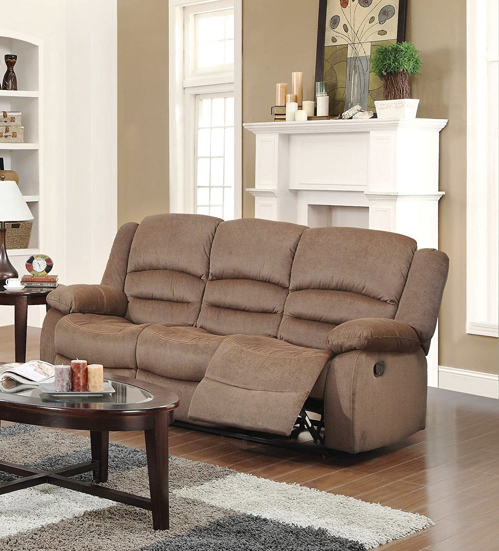Amazon US Pride Furniture 3 Piece Light Brown Fabric Reclining