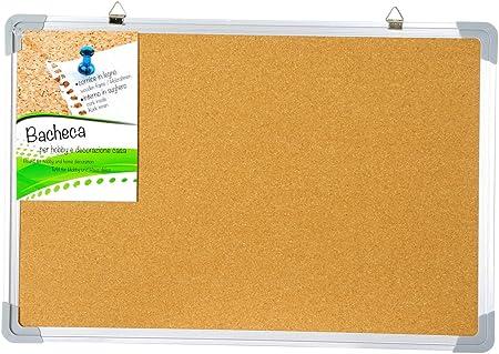 Pizarra y tablón de anuncios corcho y marco de fotos metal, 60 x 40 cm: Amazon.es: Hogar