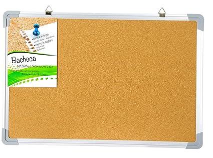Pizarra y tablón de anuncios corcho y marco metálico 90 x 60 ...
