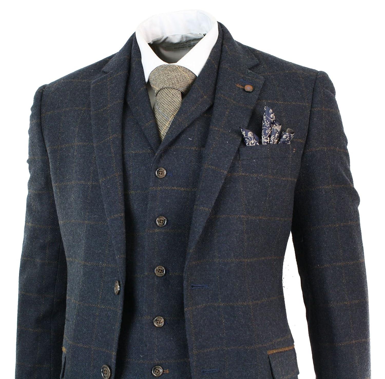 Costume 3 pièces style Peaky Blinders laine tweed carreaux chevrons bleu  marine marron homme Amazon.fr Vêtements et accessoires