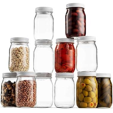 Glass Mason Jar 16 Ounce (1 Pint) - 12 Pack - Regular Mouth, Metal Airtight Lid, USDA Approved, Pickling, Preserving, Jam, Honey, Jelly, Canning Jars, Dry Food Storage, Craft Storage, Decorating Jar
