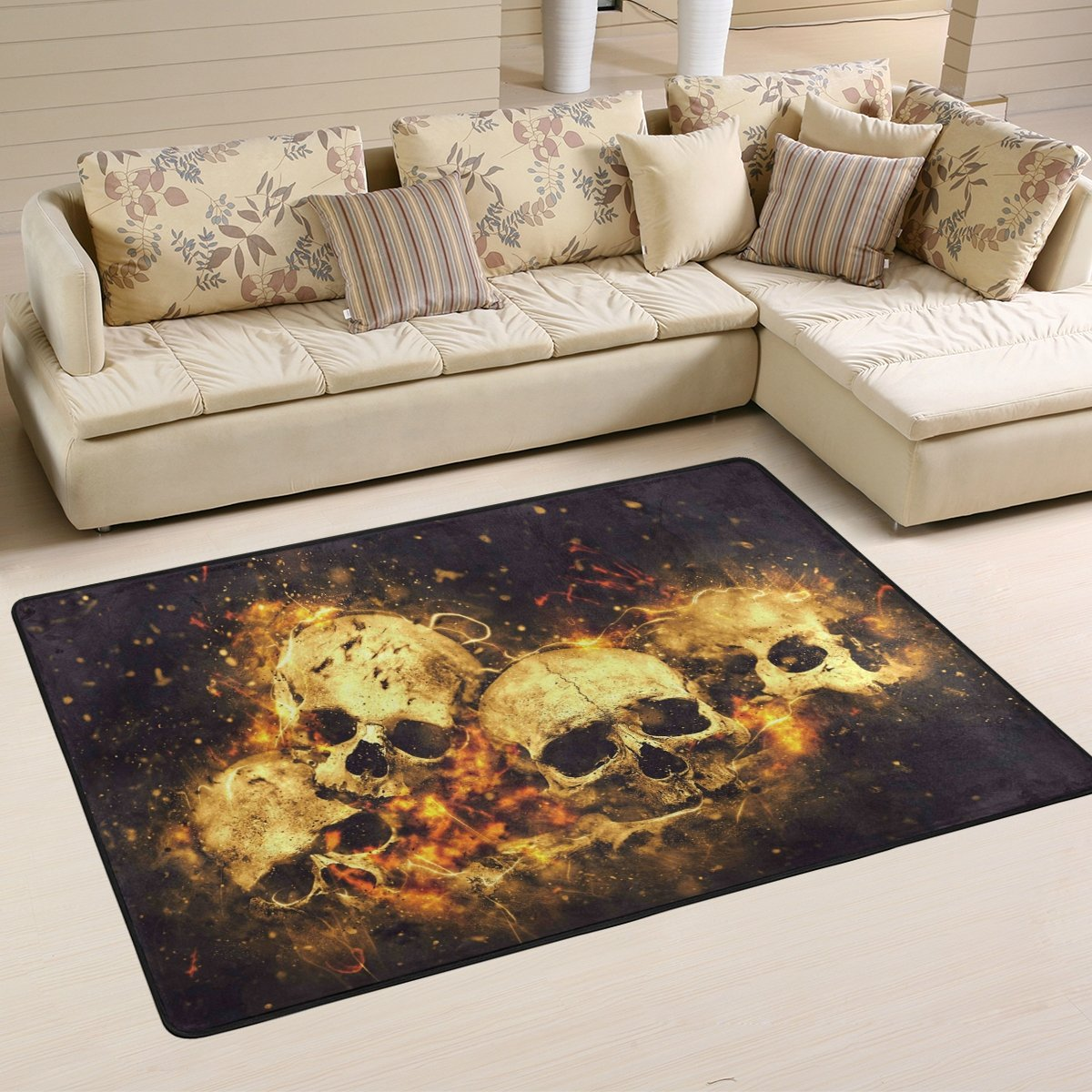 SAVSV 3' x 2' Area Rug Carpet Doormat Lightweight Printed Skulls And Bones Easy to Clean For Living Room Bedroom