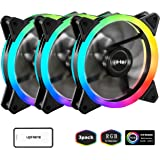 upHere 120mm RGB LED Computer Case PC Cooling Fan, Ultra Quiet High Airflow Adjustable Color LED Case Fan with Remote Controller- 3 Pack (RGB123-3)