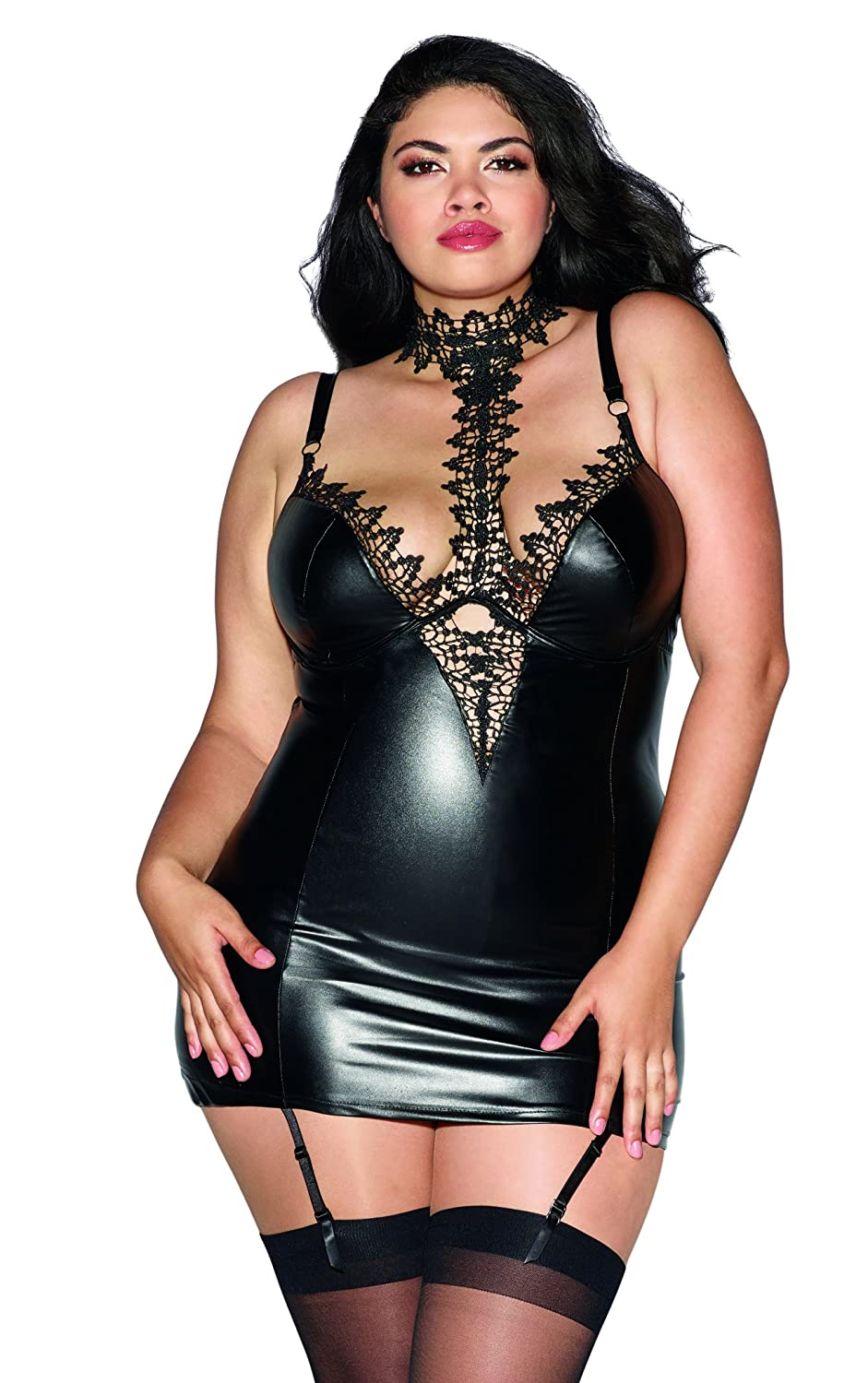 8a34d12e0 Amazon.com  Dreamgirl Women s Plus Size Faux-Leather Garter Slip with Lace  Choker  Clothing