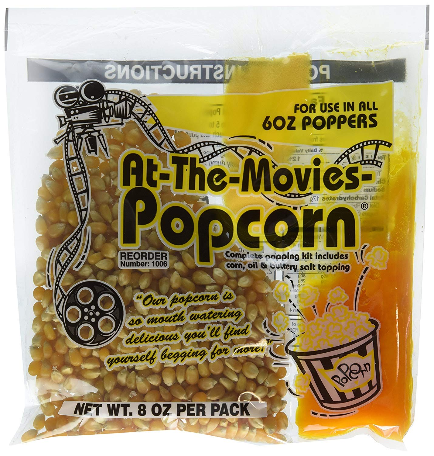 At-The-Movies Popcorn & Coconut Oil Portion Packs-Case of 24 (6oz Kettle)