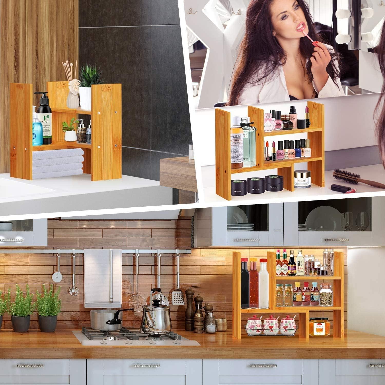 Grande /étag/ère de rangement de bureau Pour bureau En bois naturel R/églable cuisine Pipishell /Étag/ère de bureau en bambou d/écoration de la maison