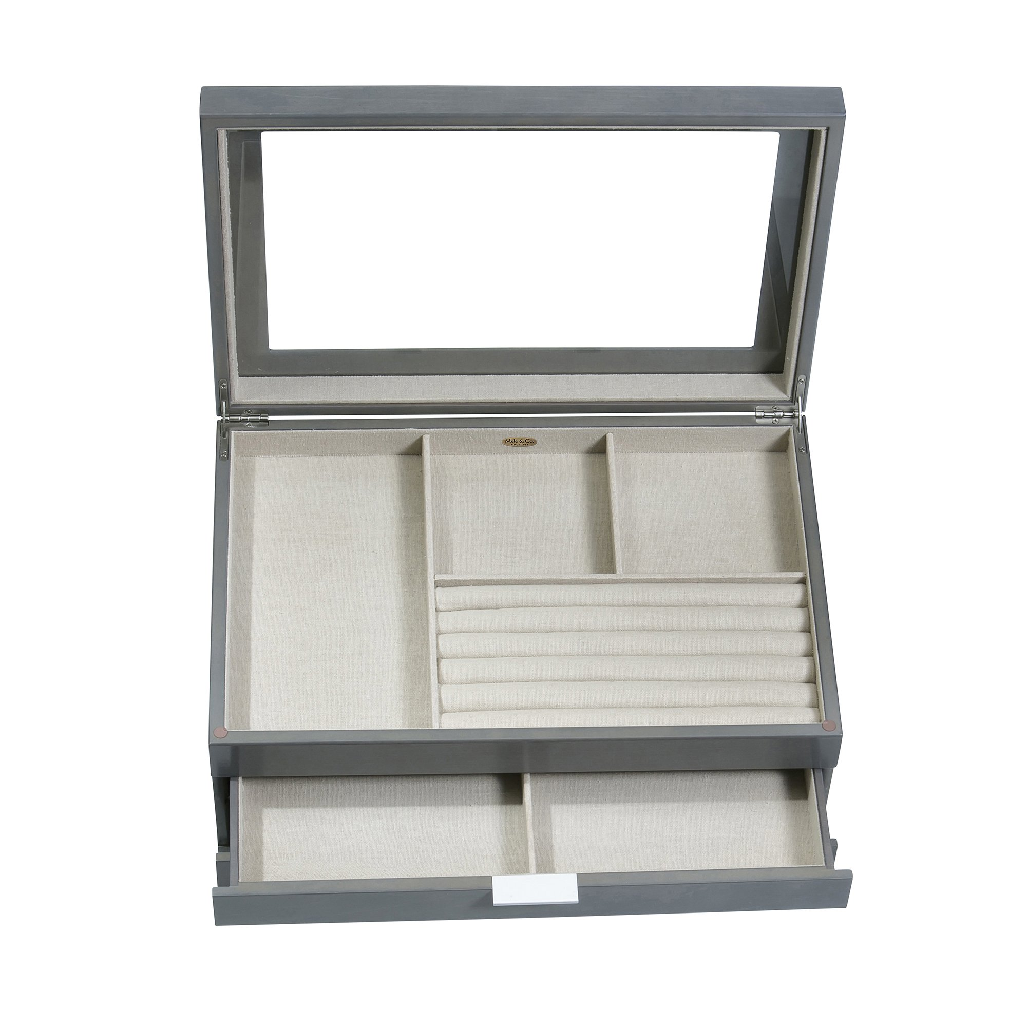 Mele & Co. Misty Glass Top Wooden Jewelry Box (Oceanside Grey Finish) by Mele & Co. (Image #6)