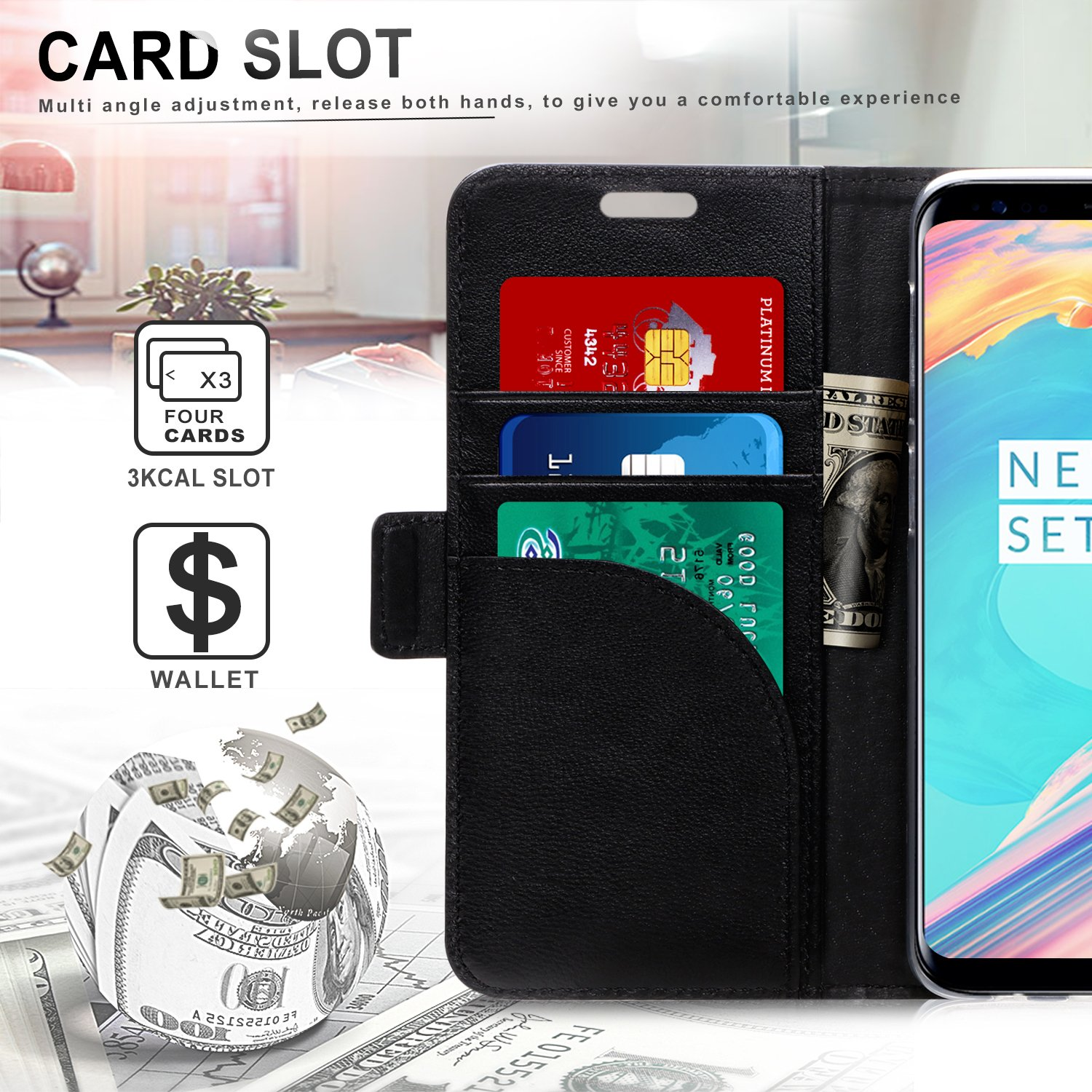 2018 Galaxy S9 Case Black Samsung S9 Wallet Case fyy Genuine Leather Case with Kickstand Card Holder Protective Flip Case for Samsung Galaxy S9 RFID Blocking