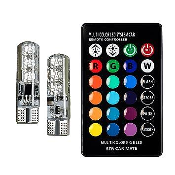 t10 w5w 168 2825, (6)smds 5050 rgb led chips 12v dc , super brightt10 w5w 168 2825, (6)smds 5050 rgb led chips 12v dc , super bright 16 color changing wireless remote control