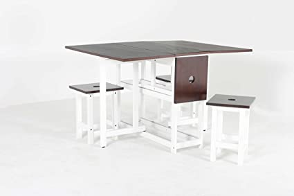 Enjoyable Oliver Smith 4 Person 48 X 35 Solid Wood Space Saving Drop Leaf Table Set 5 Piece Set 1 Table 4 Folding Chairs White And Espresso Machost Co Dining Chair Design Ideas Machostcouk