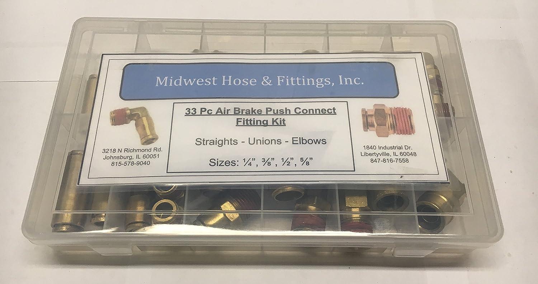 33 Pc Air Brake Push Connect Fitting Assortment Kit