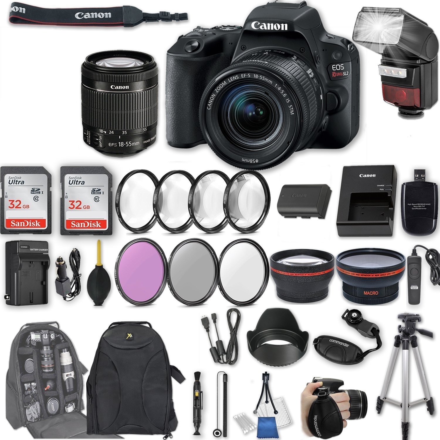 Canon EOS Rebel SL2 DSLR Camera with EF-S 18-55mm f/4-5.6 IS STM Lens + 2Pcs 32GB Sandisk SD Memory + Automatic Flash + Filter & Macro Kits + Backpack + 50'' Tripod + More by Canon