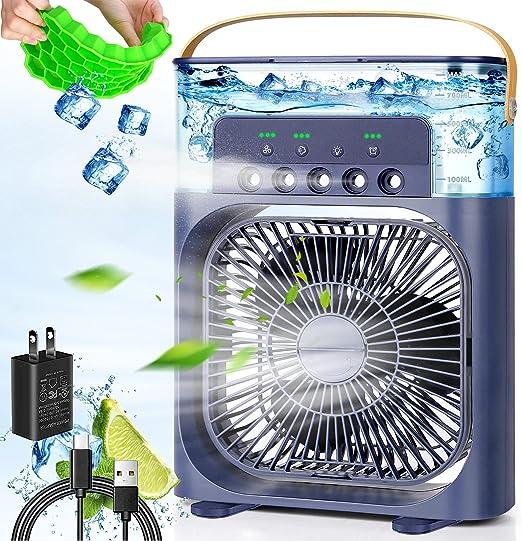 Handheld USB Fan Cooling Mini Fan 3 Speed Air Cooler Fan LED Light For Car Home