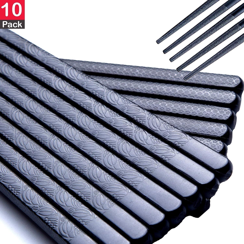 "10 Pairs Chopsticks Reusable Fiberglass Dishwasher Safe, Japanese Chopstick set, Non Slip, Premium Quality Hotel, Restaurant, Sushi Sticks,9.5"" classic black Chinese Styles Alloy in Bulk,Box Gift Set"