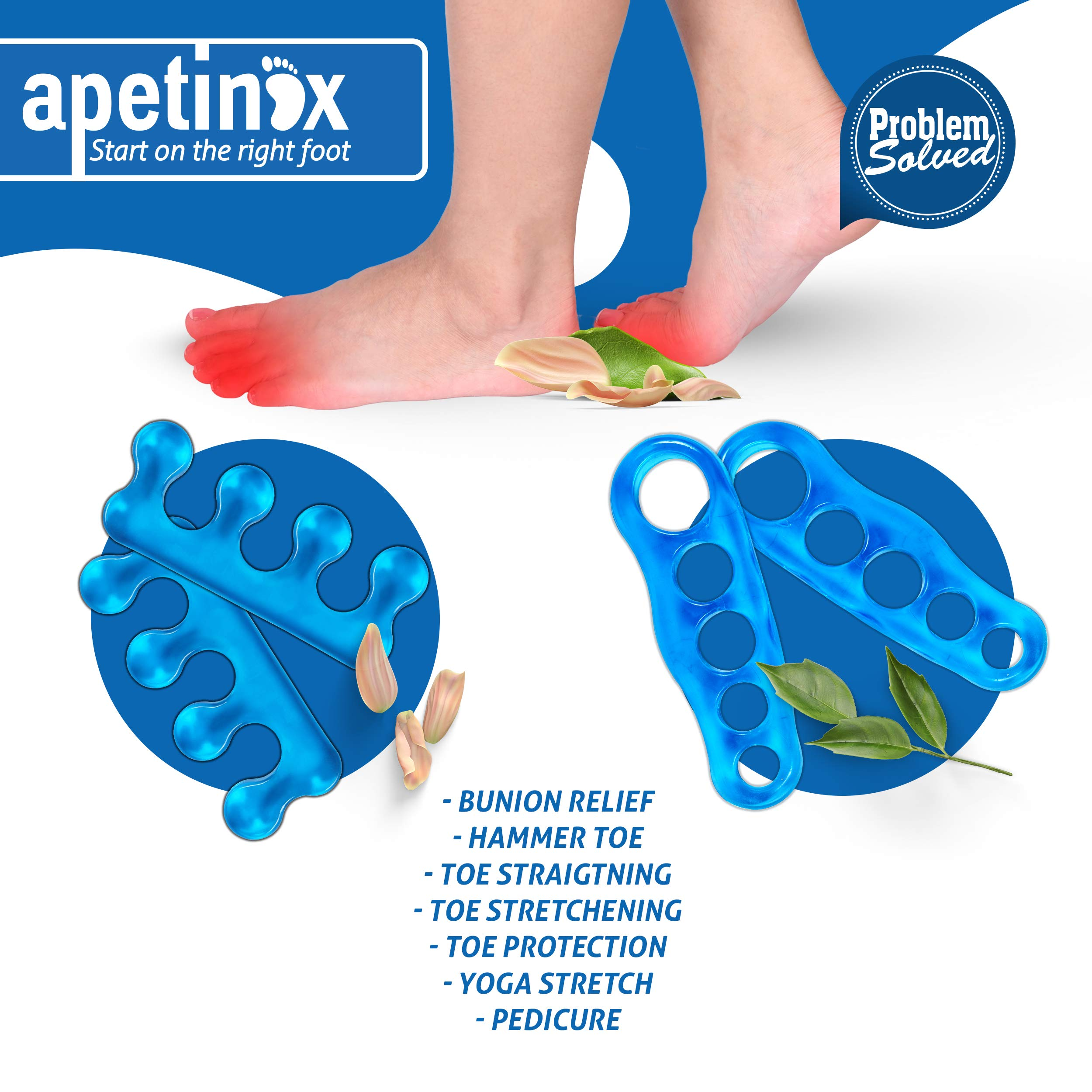 Gel Toe Separators Straighteners, Spacers Open, Close Toe Stretchers for Hammer Crooked Toe Plantar Fasciitis Pain Relief Pedicure Orthopedic Bunion Corrector for Men and Women Bundle of 2 by Apetinox