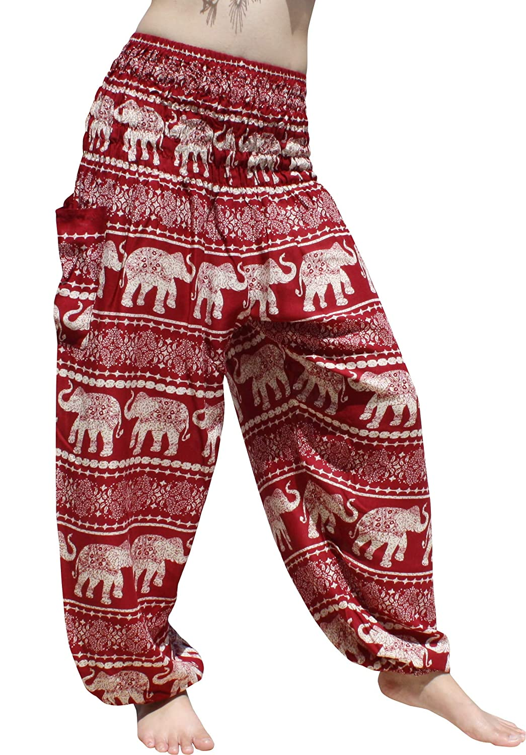 Elephants Table Pattern  Dark Red Full Funk Smocked Waist Women's Yoga Palazzo Hippie Boho Harem Pants Elephants