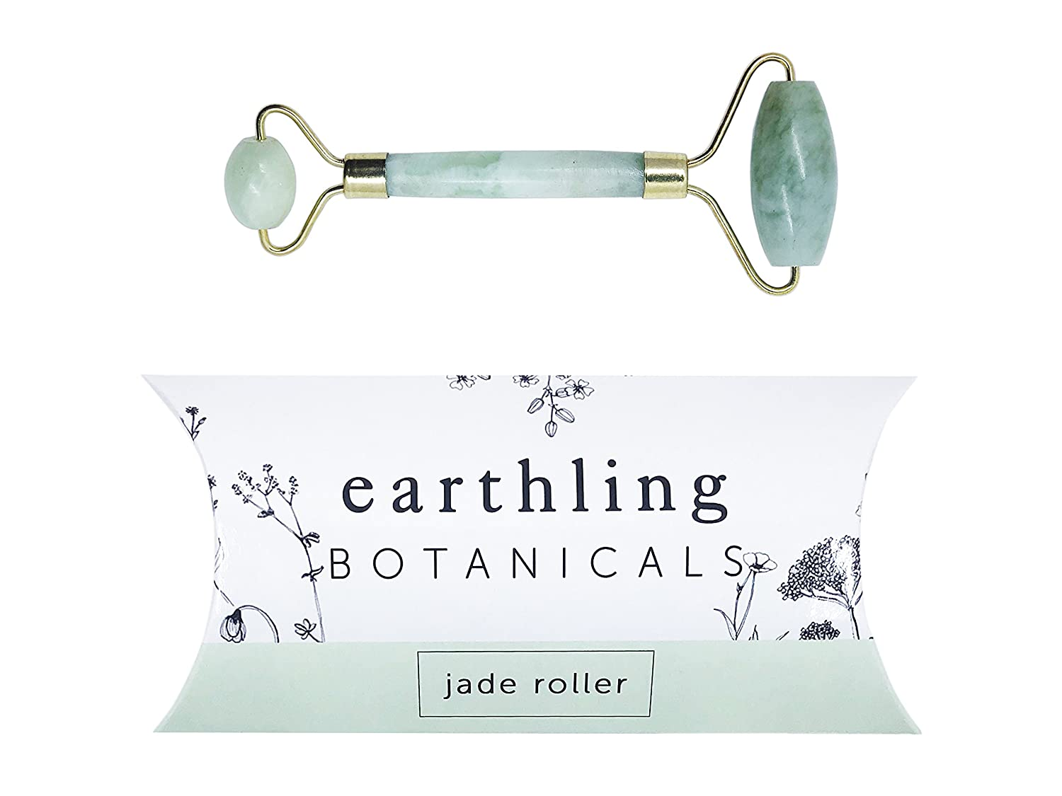 Earthling Botanicals - The Classic - 100% Natural Jade Facial Roller for Anti Aging, Depuffing and Massaging Face - Boost Blood Circulation and Skin Collagen Production– Anti Aging Facial Therapy