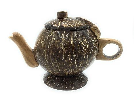 Tailandia hecho a mano Vintage estilo Eco-friendly cáscara de coco tetera tazas de café