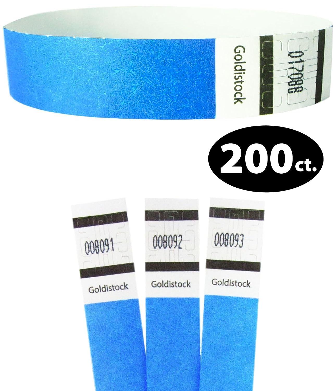 Goldistock Original Series - 3/4 Tyvek Wristbands Horizon Neon Blue 200 Count - Event Identification Bands (Paper - Like Texture)