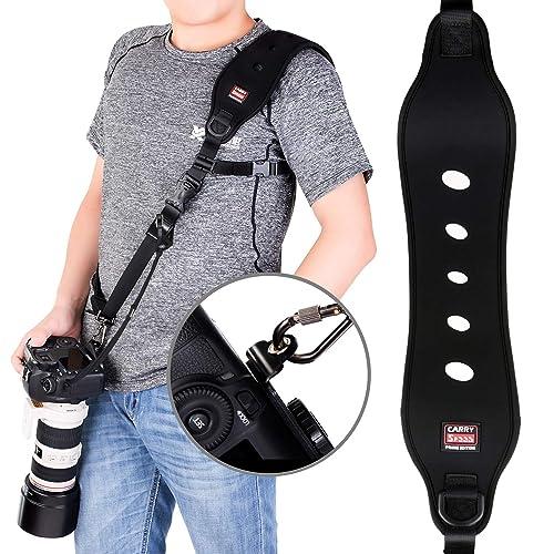 Coolway® Professional rapida azione fotocamera tracolla con sgancio rapido w/ funzione di sicurezza w/ Quick Lock System w/ fino a 15kg (nero)
