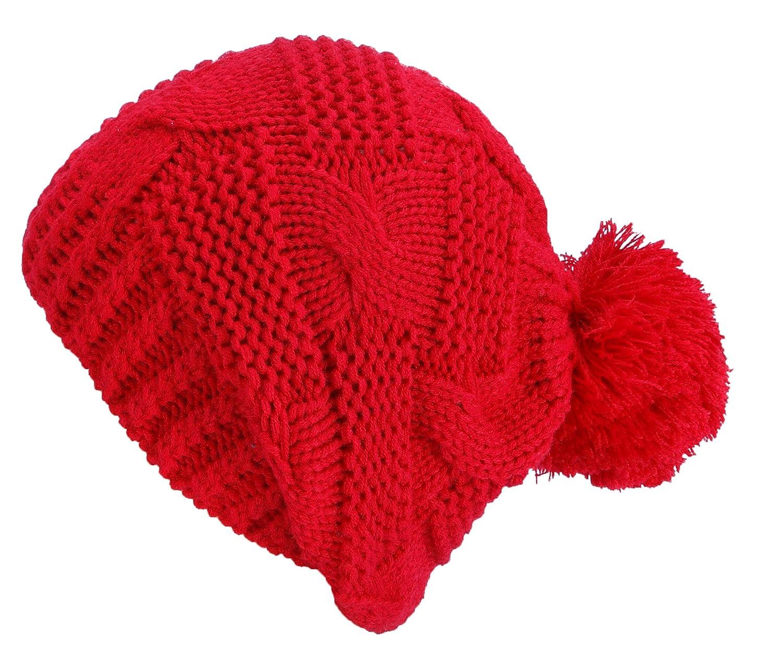 Marou Knit Bonnet Hat hiver avec pompon violet rose fuchsia blanc noir rouge TOP 243-273 NOUVEAU