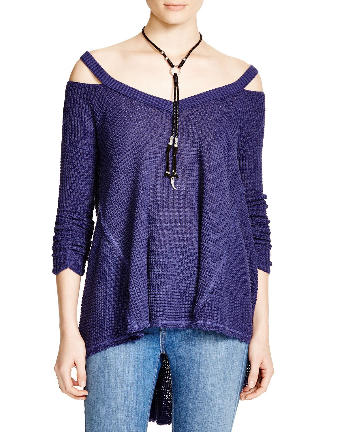 Free People Women's Moonshine Cold Shoulder V-Neck Sweater (Medium, Atlantic Blue)