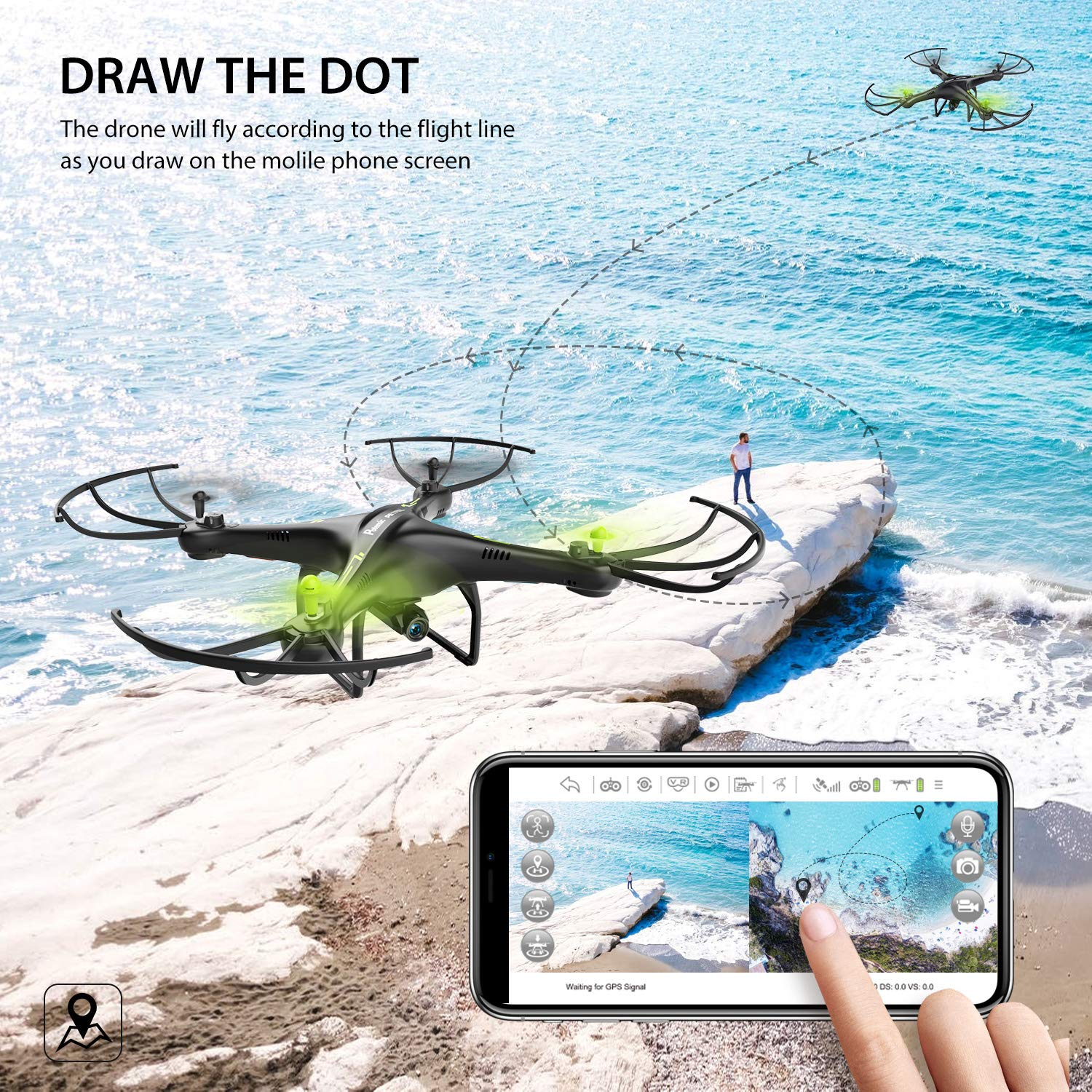 Potensic U42 WiFi FPV Drone with HD Camera Live Video, RTF Remote Control Drone Headless Model Quadcopter with Altitude Hold Function for Adults Beginners