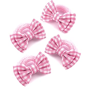 4 x Girls Pink   White Gingham Bow Motif Hair Bobbles  Elastics  Ponios 22735a7a8de