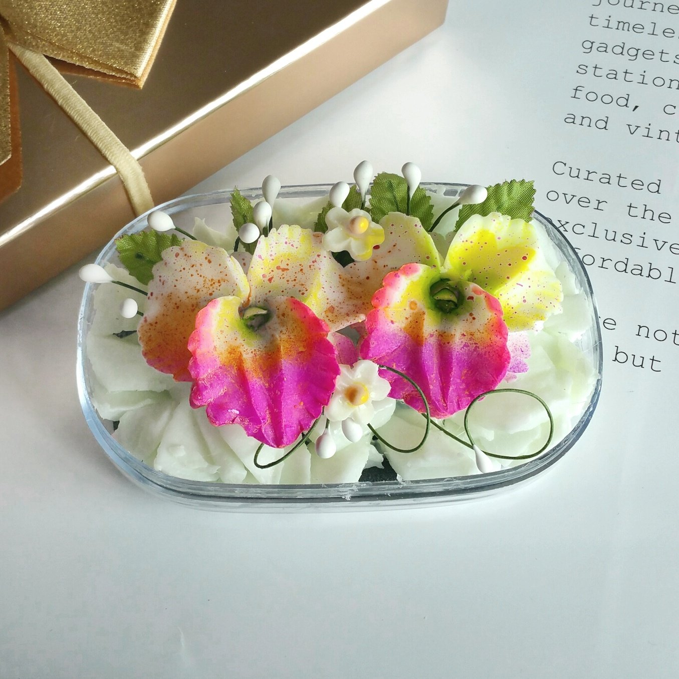 Double Yellow Orchids Hand Carved in Soap Bar with Jasmine Aroma Essential Oil, Decorative Soap Carving by Thai Artisan
