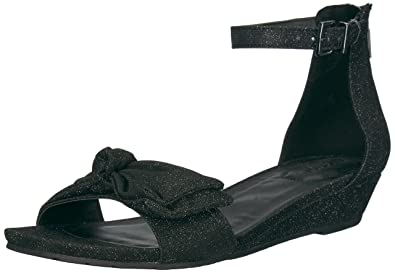 Womens Great Start Low Bow Detail Fabric Wedge Sandal, Black, 6 M US Kenneth Cole Reaction