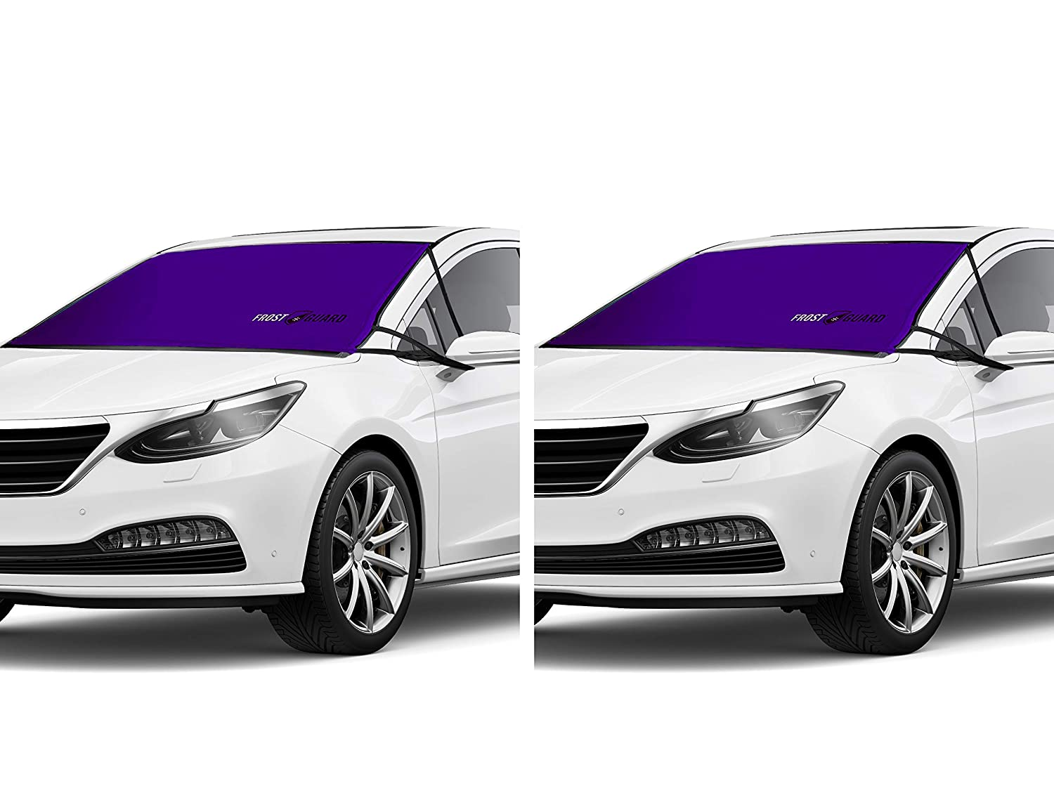 """FrostGuard ProTec   Premium Winter Windshield Cover for Snow, Frost and Ice, 2 Pack – Cold Weather Protection for Your Vehicle – Red and Purple, Standard Size 60 x 32"""" Fits Cars, Sedans, Small SUVs Delk Products Inc."""