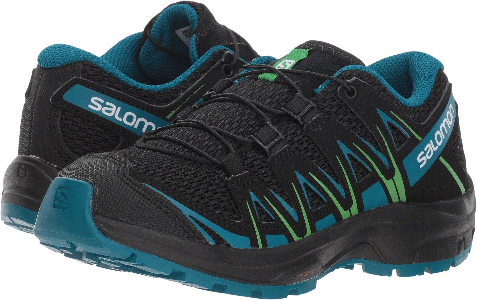 Salomon XA PRO 3D J Trail Running Shoe, Black/deep Lagoon/Onlime Lime, 5 Child US