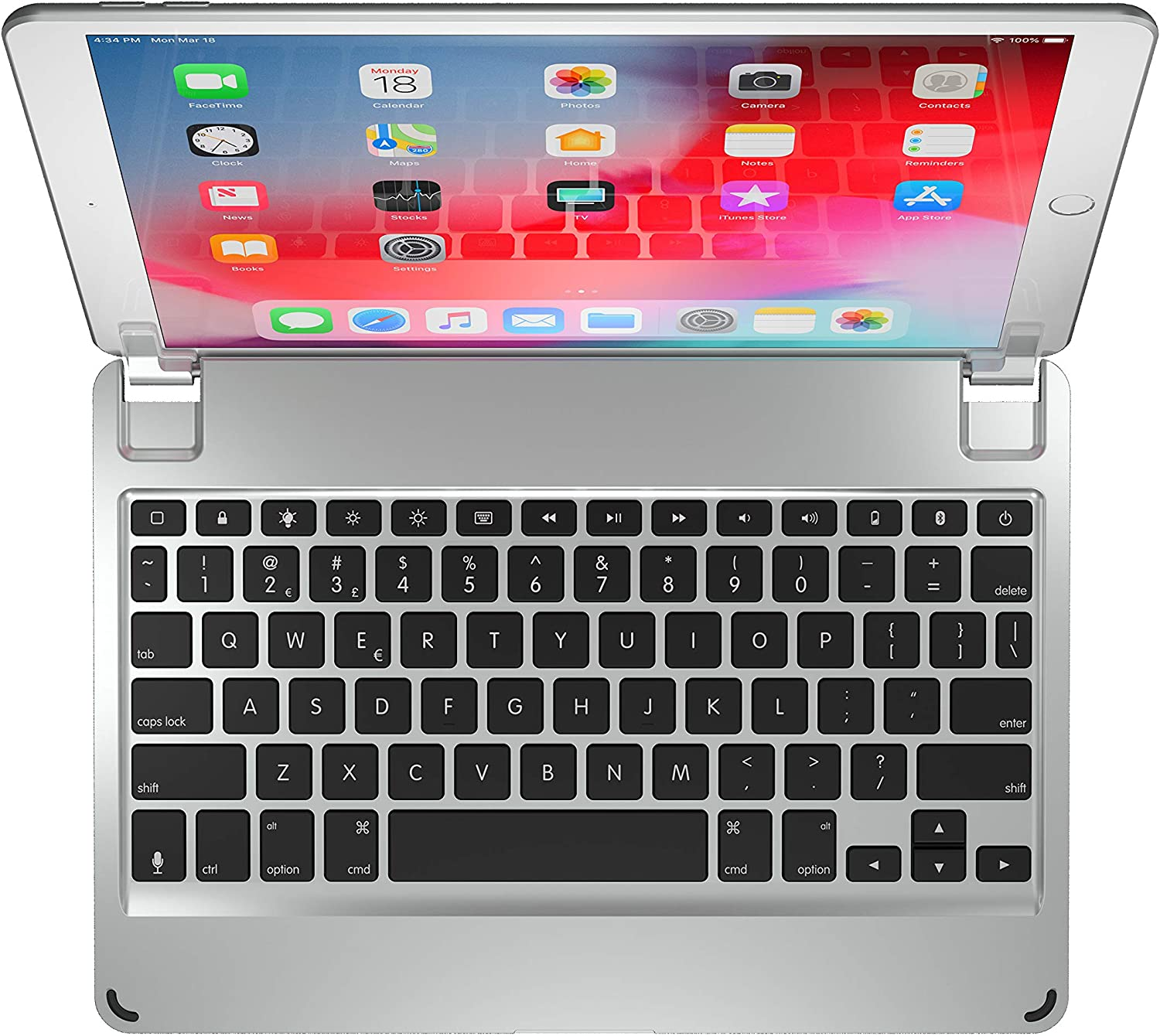 Brydge 10.5 Keyboard for iPad Air (2019) and iPad Pro 10.5-inch | Aluminum Bluetooth 4.2 Keyboard with Backlit Keys (Silver)