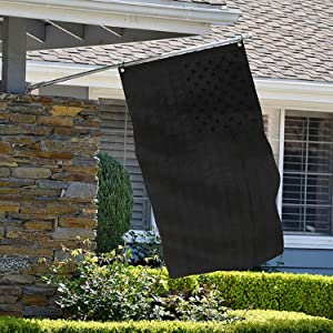 All Black American Flag 3x5 Ft, Pure Black Flag with Embroidered Stars, Sewn Stripes, Solid Black USA Banner for Outdoors Heavy Duty US American Flags Black 210D Nylon