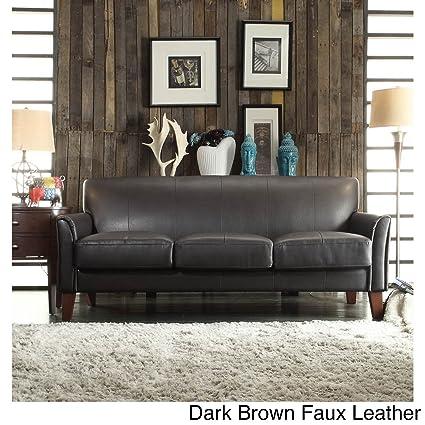 amazon com tribecca home uptown modern sofa dark brown faux rh amazon com
