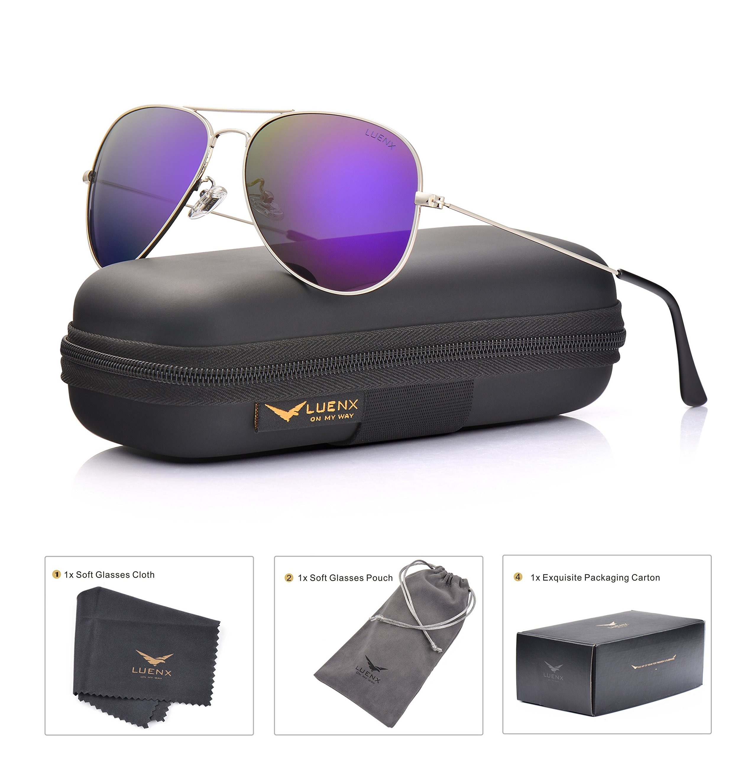 LUENX Womens Mens Aviator Sunglasses Polarized Mirrored Purple lenses Metal Frame 100% UV Protection Classic Style