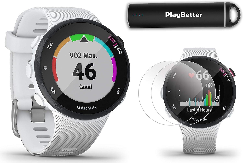 Garmin Forerunner 45S White, Small Running GPS Watch Power Bundle HD Screen Protectors PlayBetter Portable Charger Garmin Coach, Lightweight, Heart Rate, Body Battery, Smart Notifications