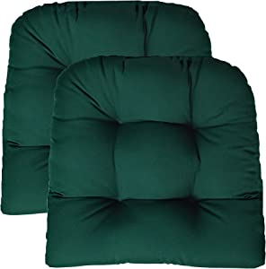 RSH DECOR Sunbrella Canvas Forest Green 2 Piece Wicker Chair Cushion Set - Indoor/Outdoor Tufted Wicker Matching Chair Seat Cushions - Green