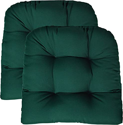 RSH DECOR Sunbrella Canvas Forest Green Large 2 Piece Wicker Chair Cushion Set – Indoor Outdoor Tufted Wicker Matching Chair Seat Cushions – Green