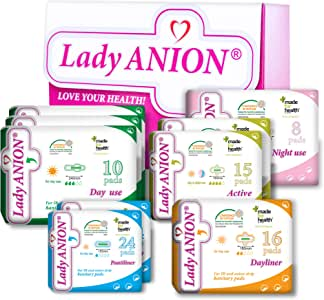 Lady Anion Compresas Sanitarias y Salvaslips, Algodón organico certificado – 5 Tipos en 1 set (en total 132 piezas) I Compresas algodon: Amazon.es: Salud y cuidado personal