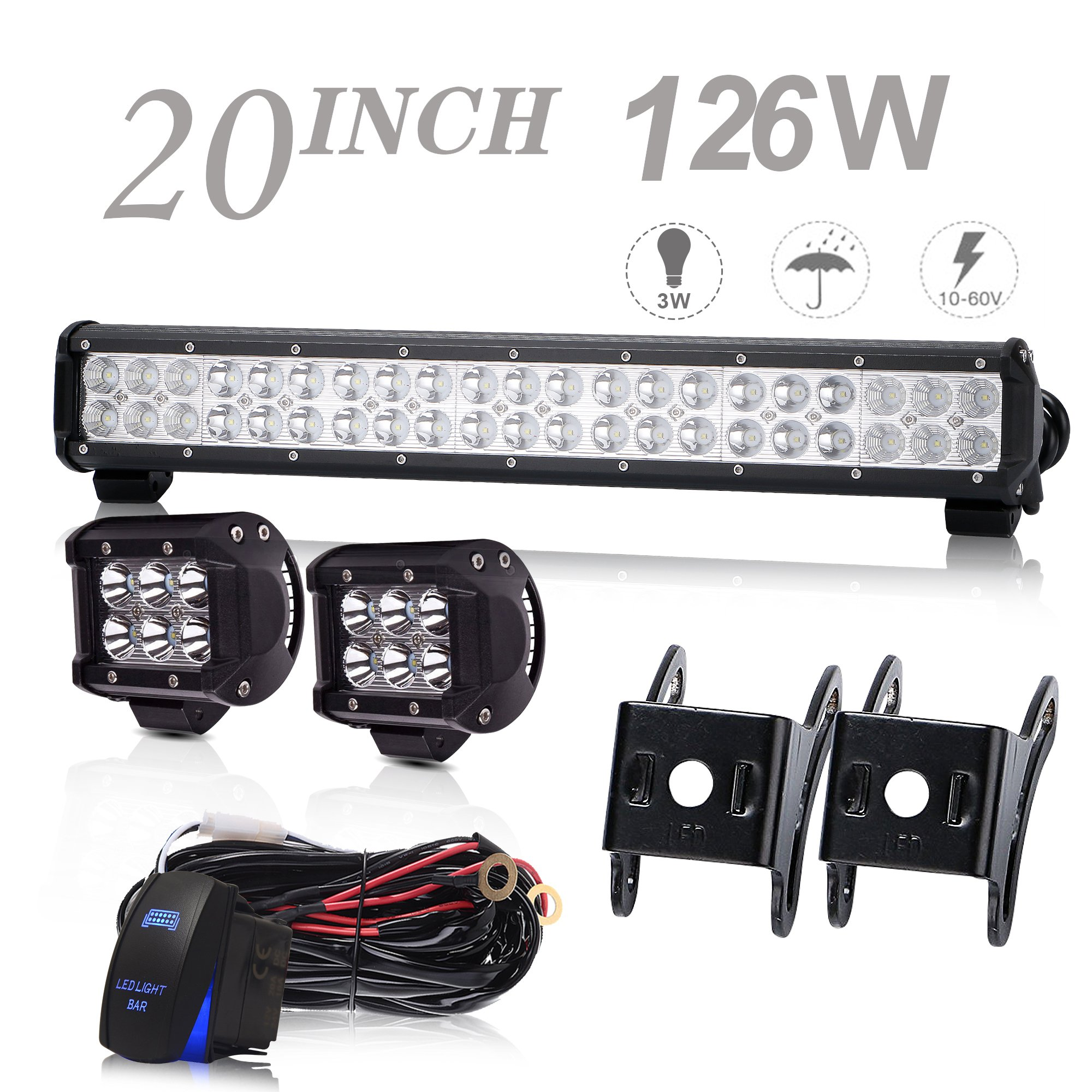 Uni Filter Dot Approved 20inch Led Light Bar 126w Off Road Driving Polaris Atv Wiring Harness Lights Work Spot Flood Fog Lamp With For Rzr Toyota
