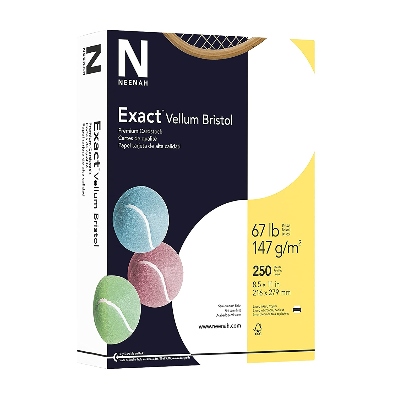 "Exact Vellum Bristol, 8.5"" x 11"", 67 lb/147 GSM, White, 94 Brightness, 250 Sheets (80218)"